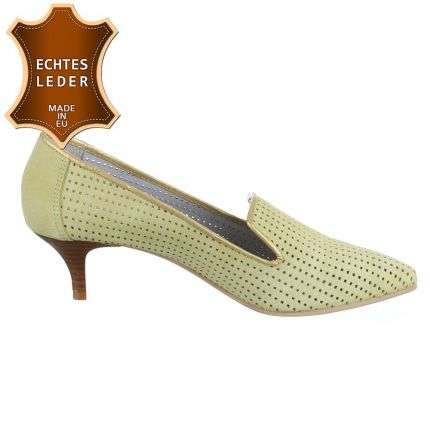 Damen Leder Pumps - lemon