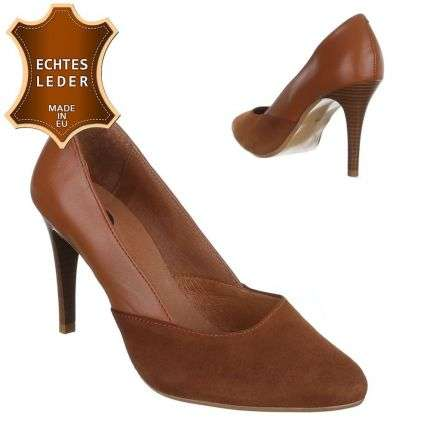 Damen Leder Pumps - cognac