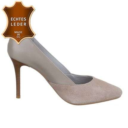 Damen Leder Pumps - taupe