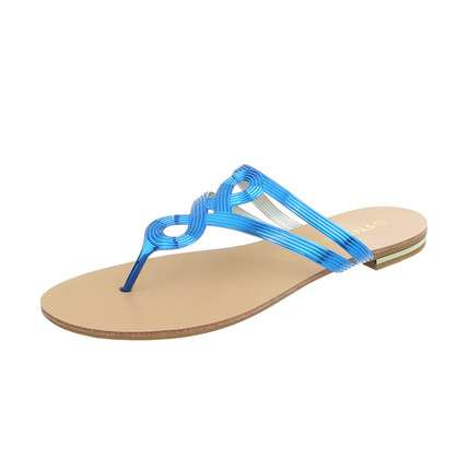 Damen Flache Sandalen - royalblue