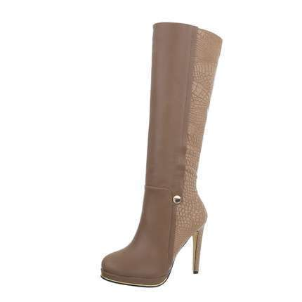Damen High Heel Stiefel - beige