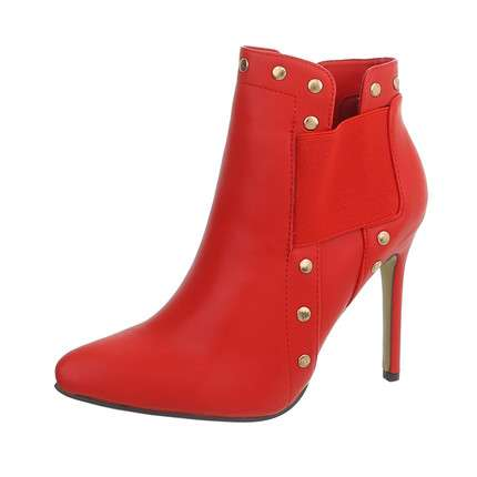 Damen High Heel Stiefeletten - red