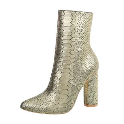 Damen High Heel Stiefeletten - gold