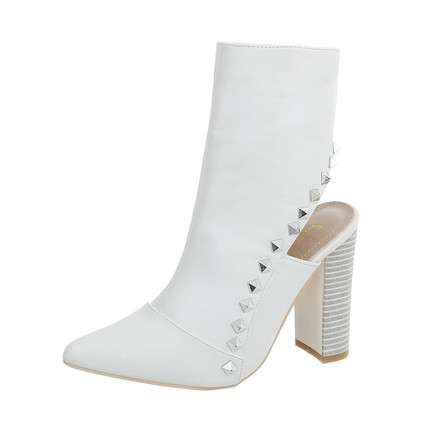 Damen High Heel Stiefeletten - white