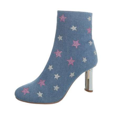 Damen High Heel Stiefeletten - denim