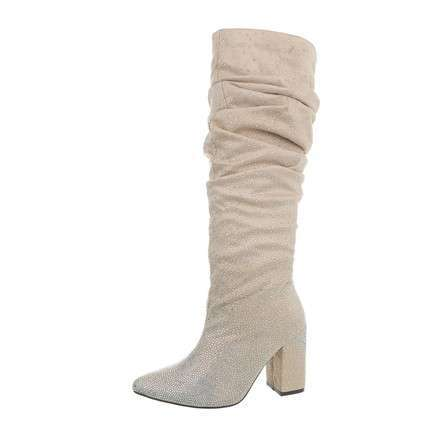 Damen High-Heel Stiefel - beige