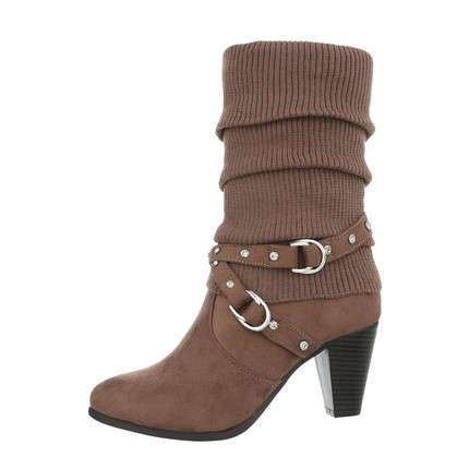 Damen High-Heel Stiefel - khaki
