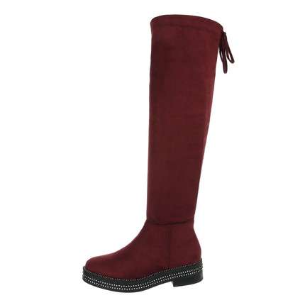 Damen Overknee-Stiefel - winered