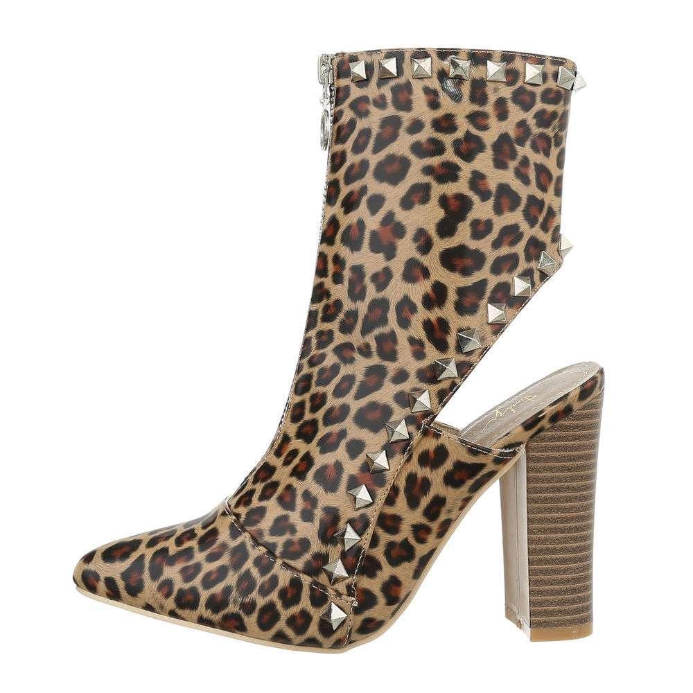 Cizme pentru femei cu toc înalt - leopard
