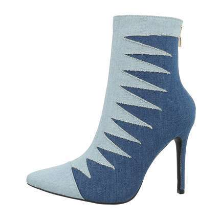 Damen High-Heel Stiefeletten - denim