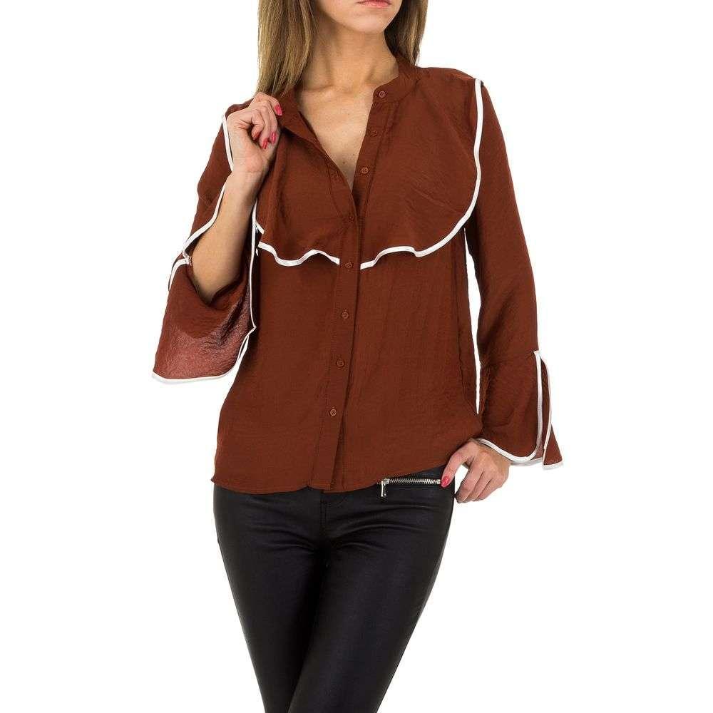 Bluză de cămașă pentru femei by JCL - maro