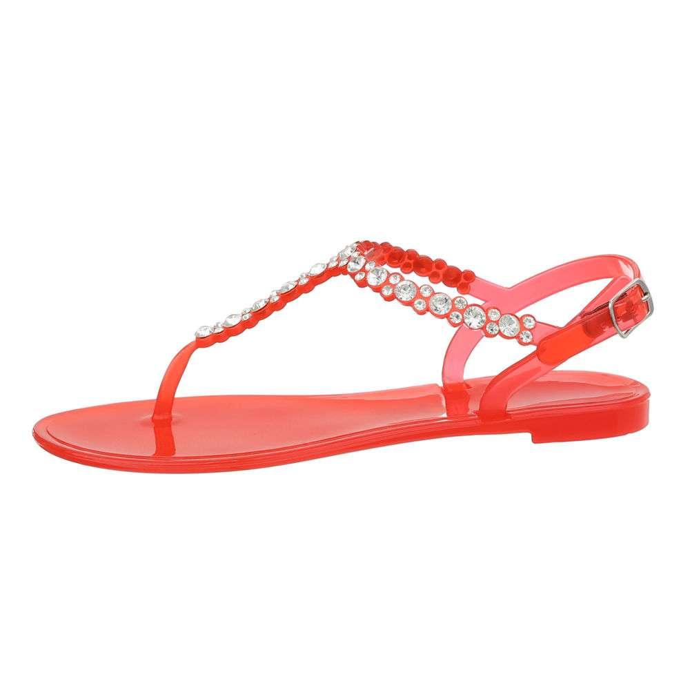 Sandale plate pentru femei - roșii - image 1