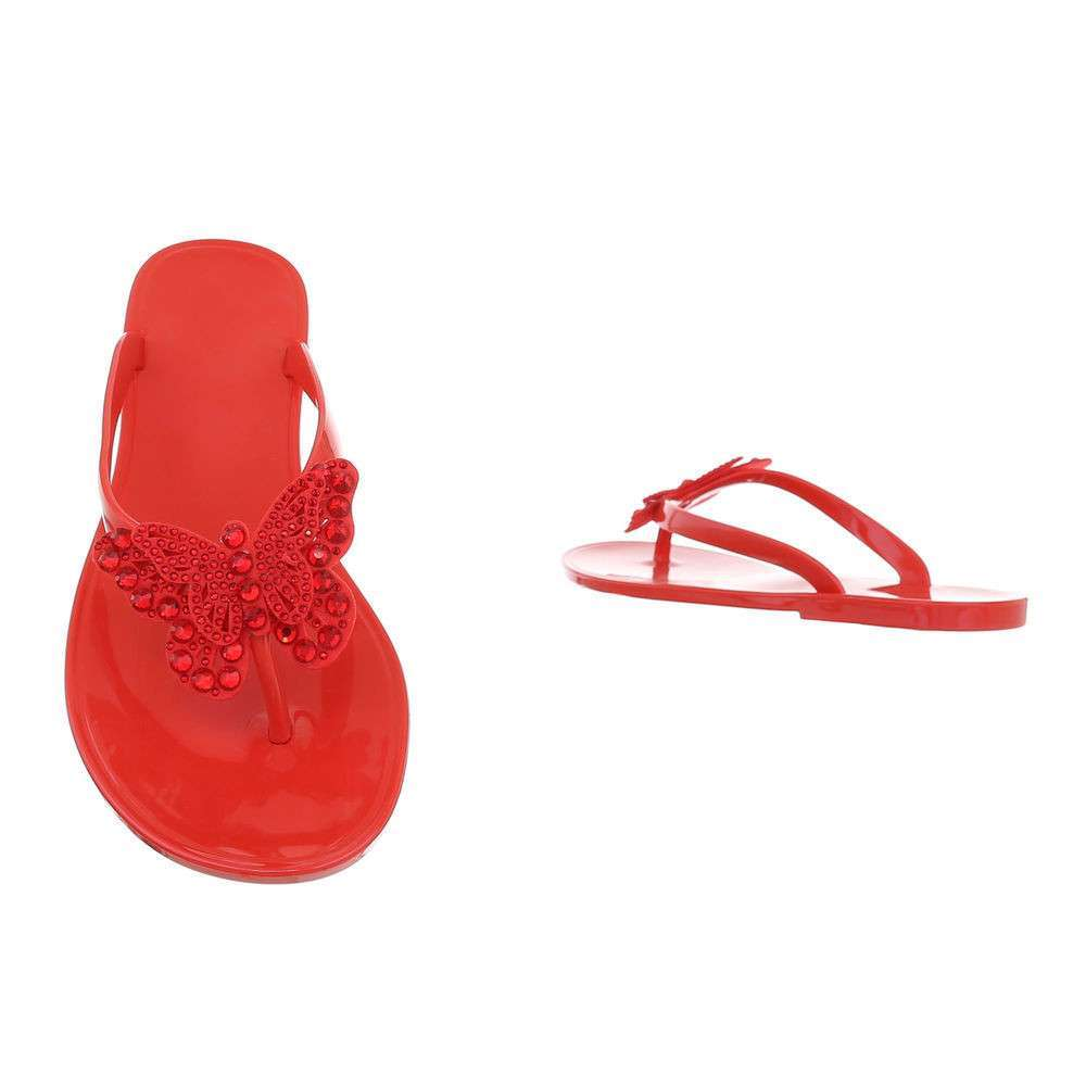Sandale plate pentru femei - roșii - image 3
