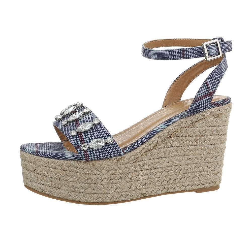Sandale cu platformă pentru femei - albastre