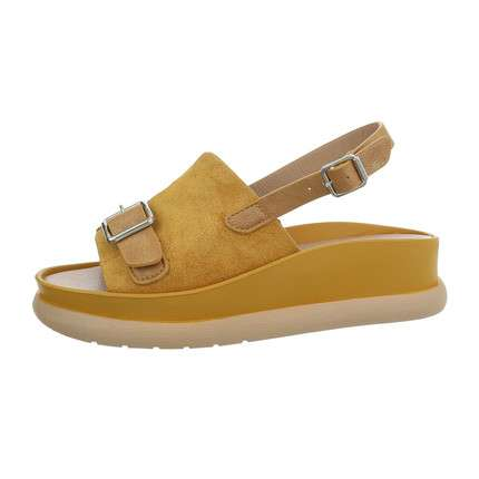 Damen Flache Sandalen - yellow