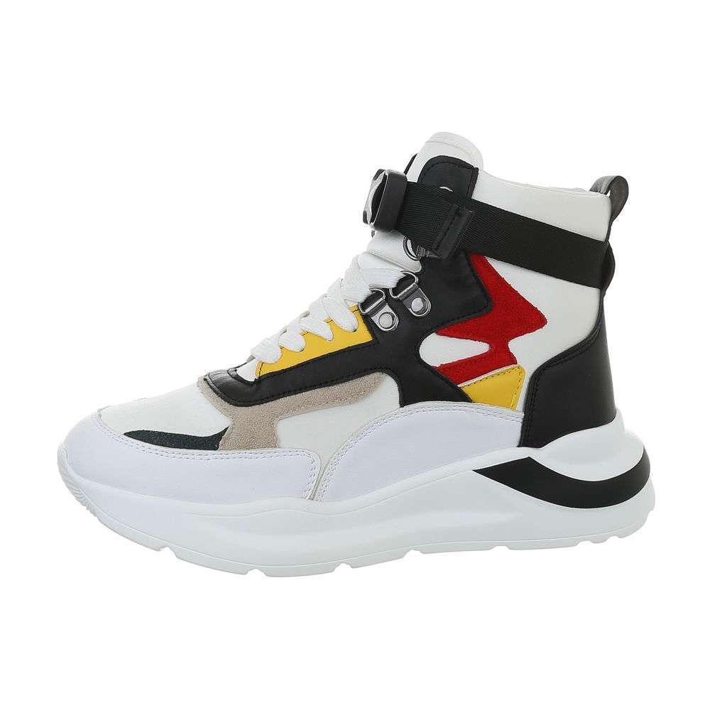 Pantofi sport înalți pentru femei - albi