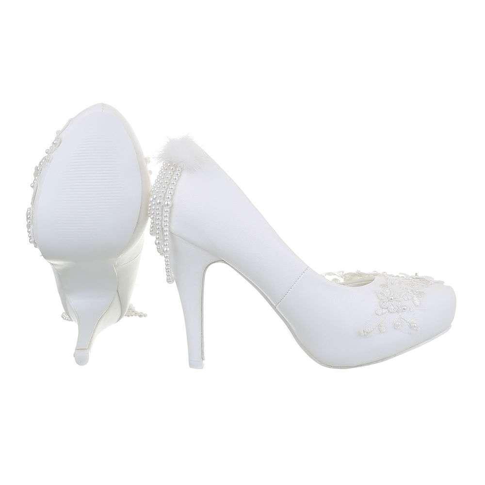 Pantofi cu toc înalt de nuntă pentru femei - alb - image 2