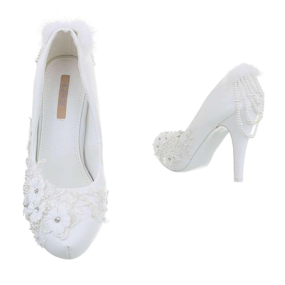 Pantofi cu toc înalt de nuntă pentru femei - alb - image 3