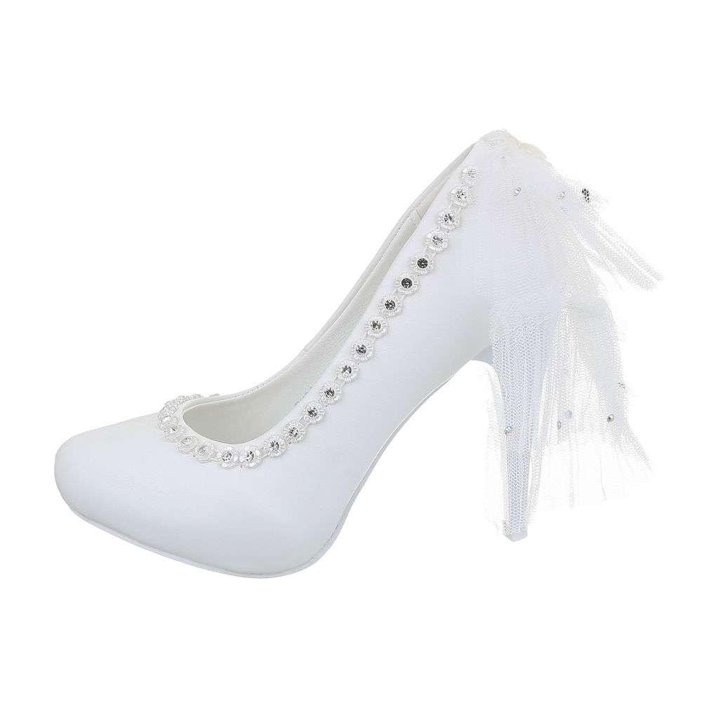 Pantofi cu toc înalt de nuntă pentru femei - alb - image 1