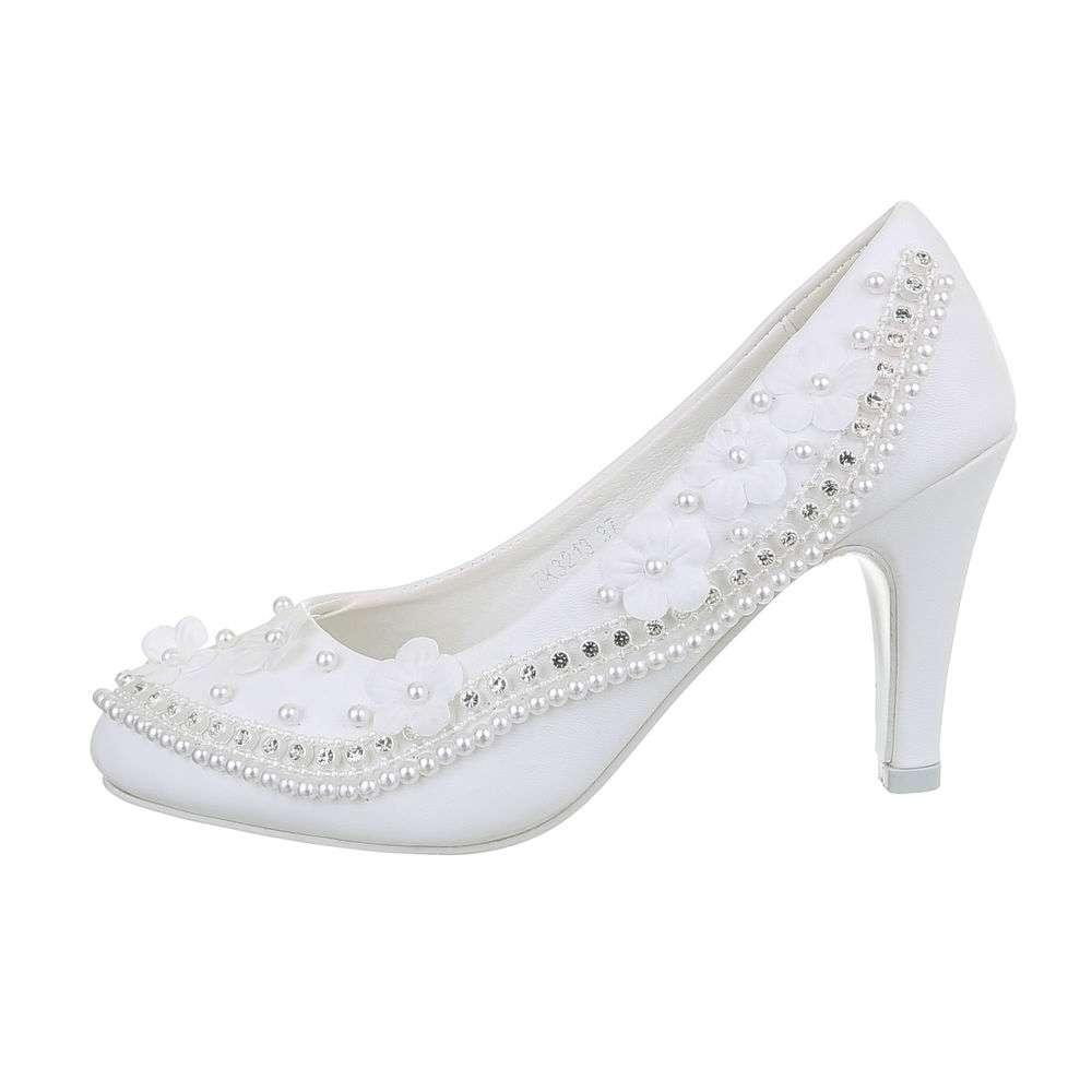 Pantofi cu toc înalt de nuntă pentru femei - alb