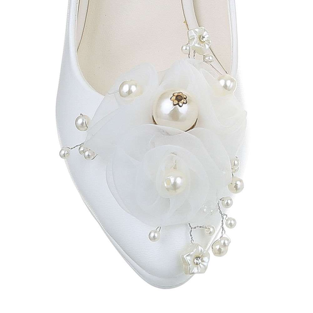 Pantofi cu toc înalt de nuntă pentru femei - alb - image 4