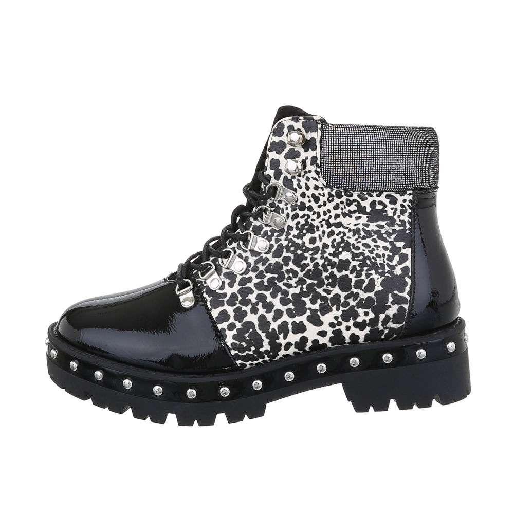 Cizme de damă cu dantelă - negruleopard - image 1