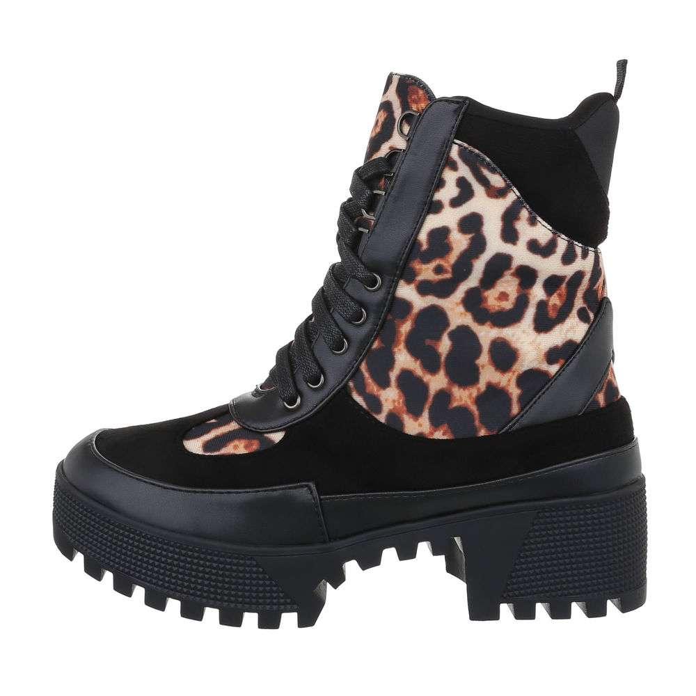 Cizme de dama cu cordon - leopard