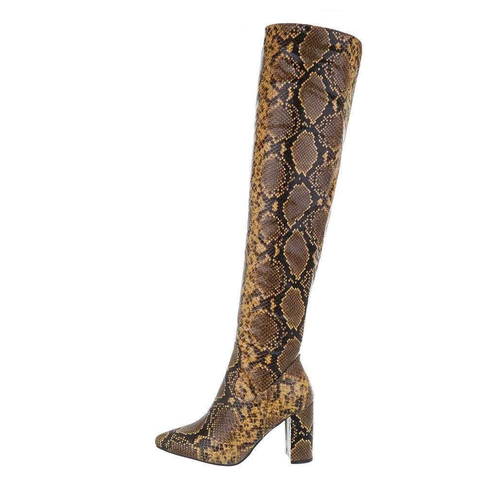Cizme deasupra genunchiului - șarpe galben