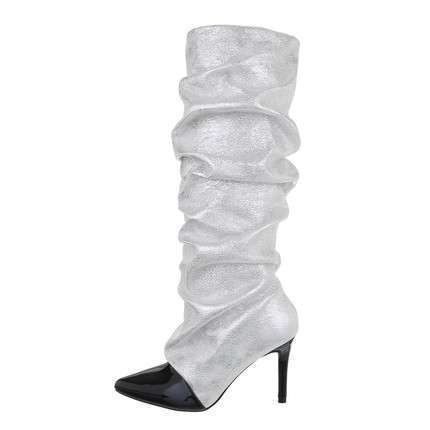 Damen High-Heel Stiefel - silver