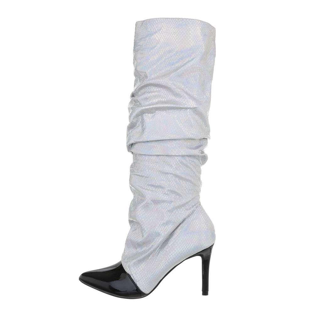 Cizme pentru femei cu toc înalt - argintiu