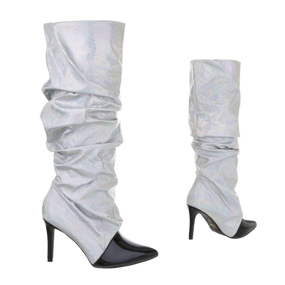 Cizme pentru femei cu toc înalt - argintiu - image 3