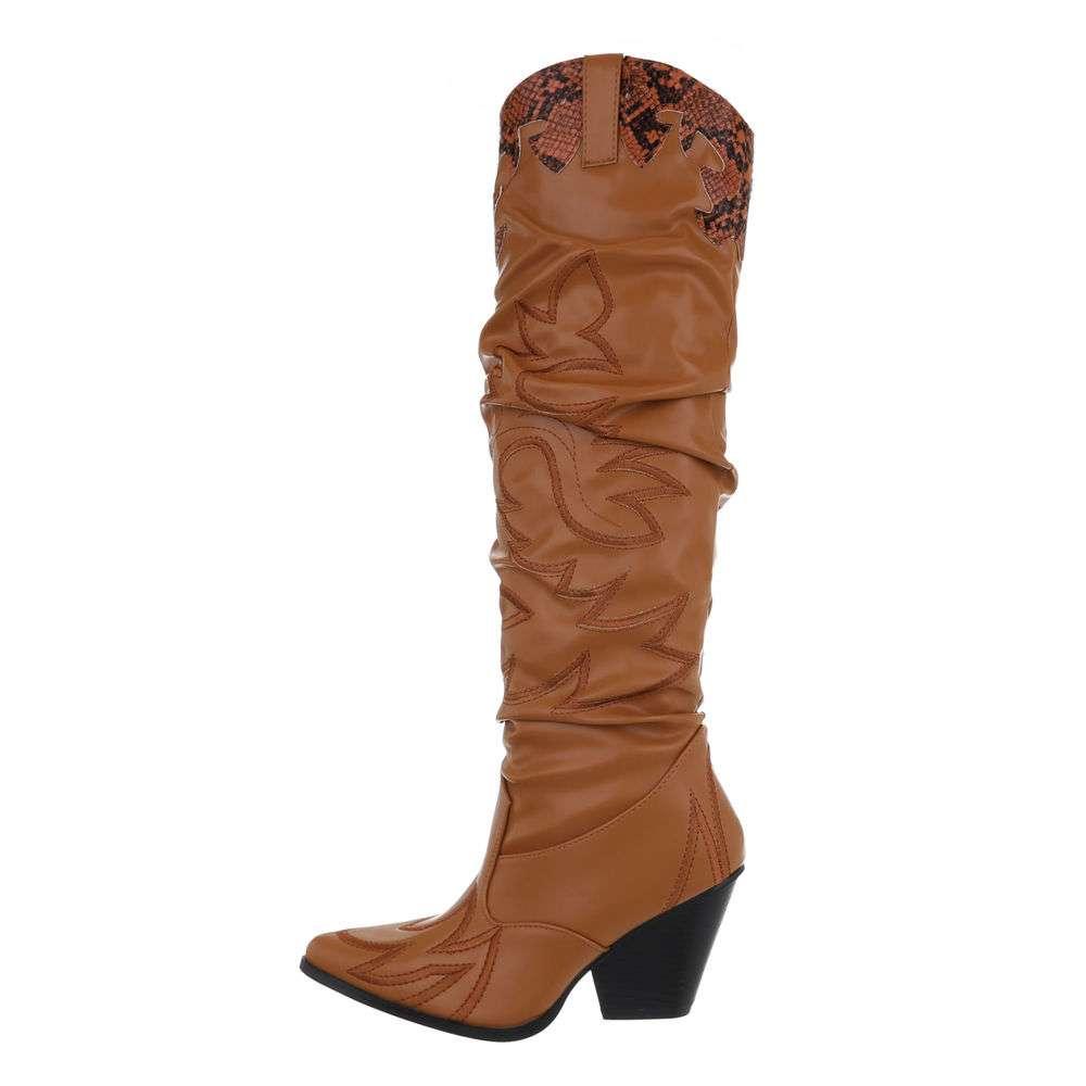 Cizme dama peste genunchi - cămilă