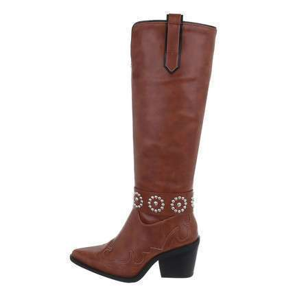 Damen High-Heel Stiefel - camel