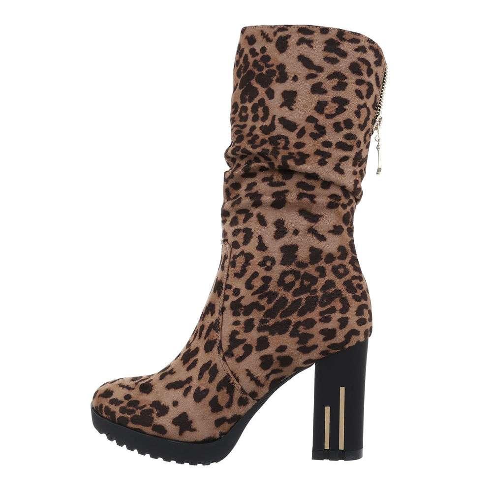 Cizme pentru femei cu toc înalt - leopard - image 1