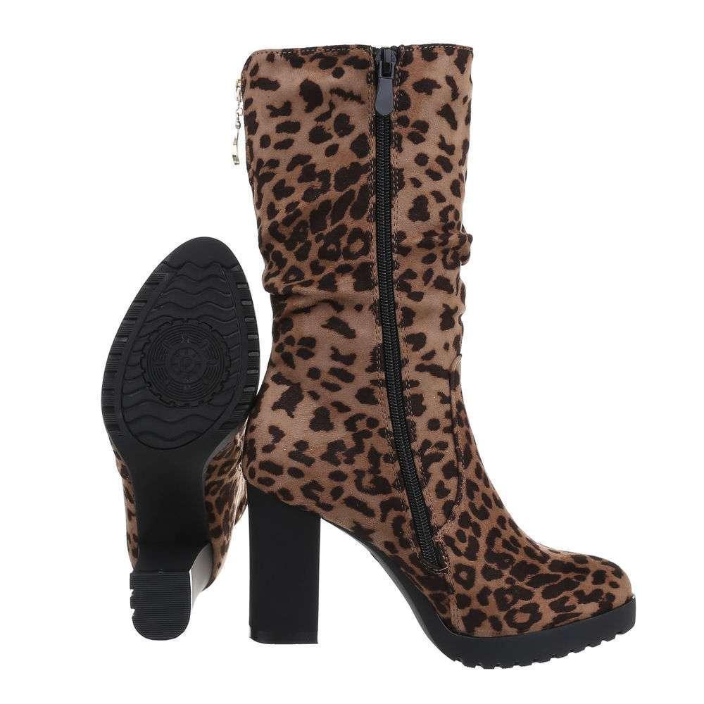 Cizme pentru femei cu toc înalt - leopard - image 2