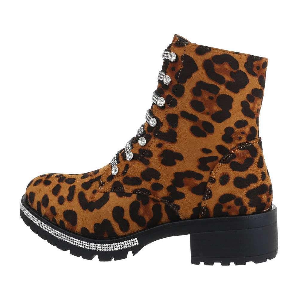 Cizme de dama cu cordon - imprimeu leopard - image 1