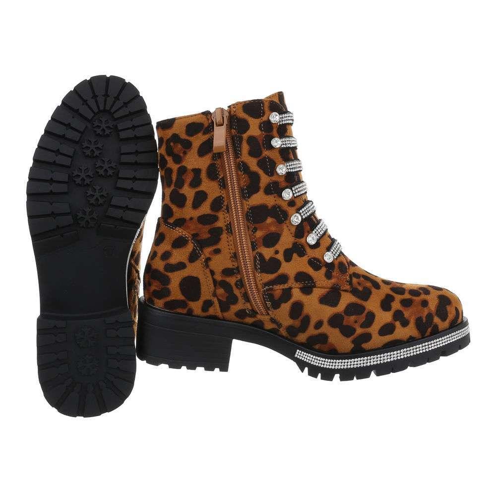 Cizme de dama cu cordon - imprimeu leopard - image 2