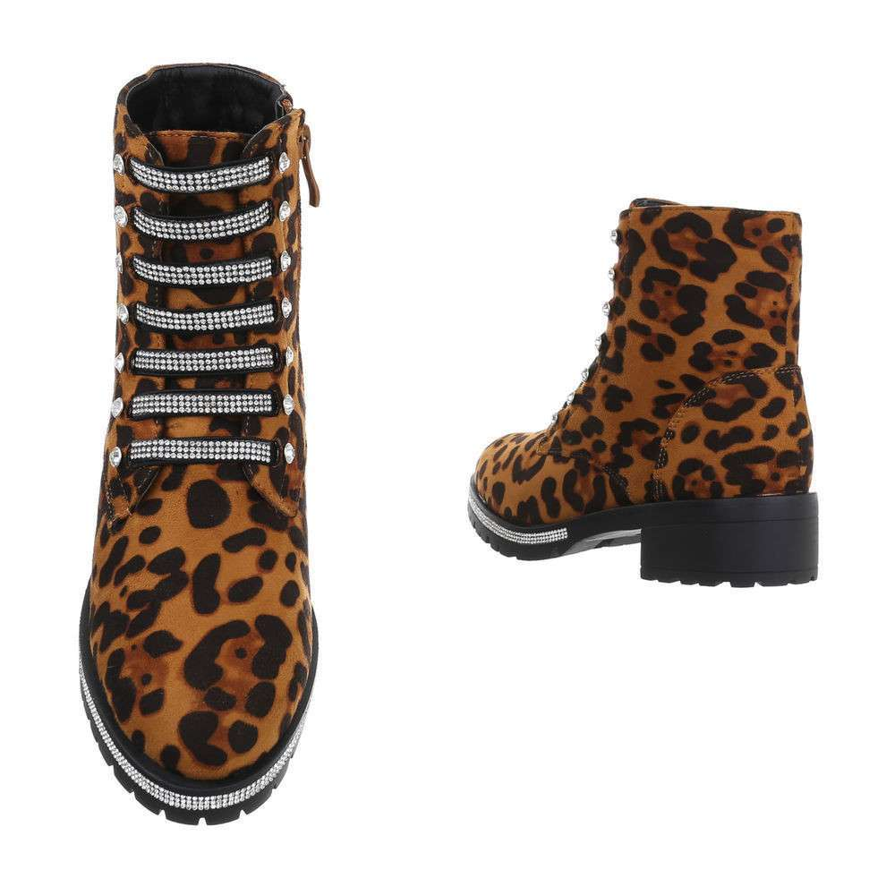 Cizme de dama cu cordon - imprimeu leopard - image 3