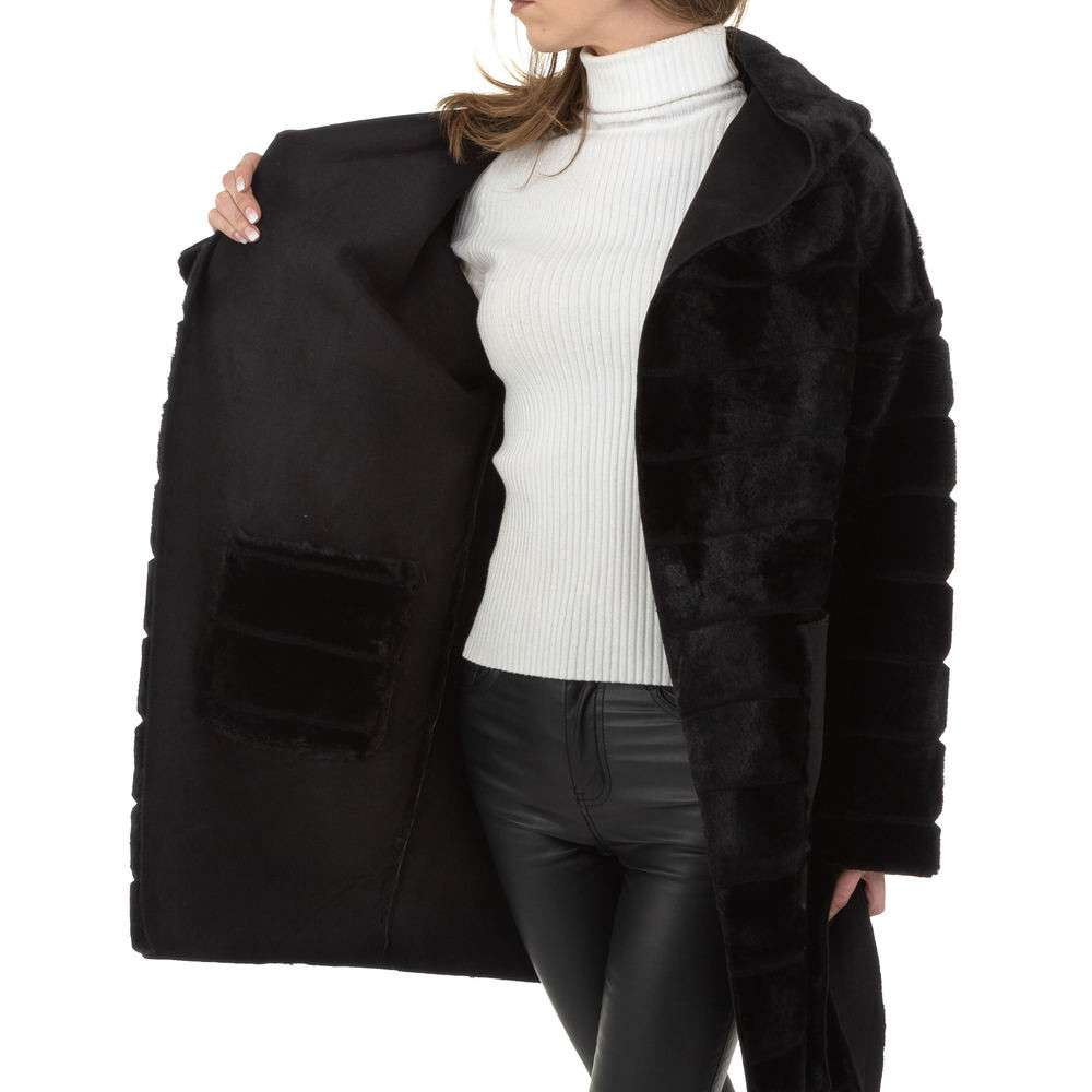 Palton de dama de Voyelles - negru - image 5