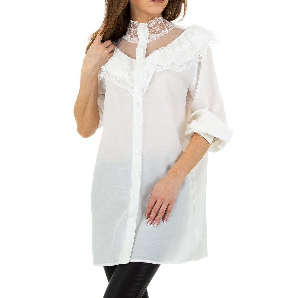 Bluză lungă de damă de Voyelles - albă