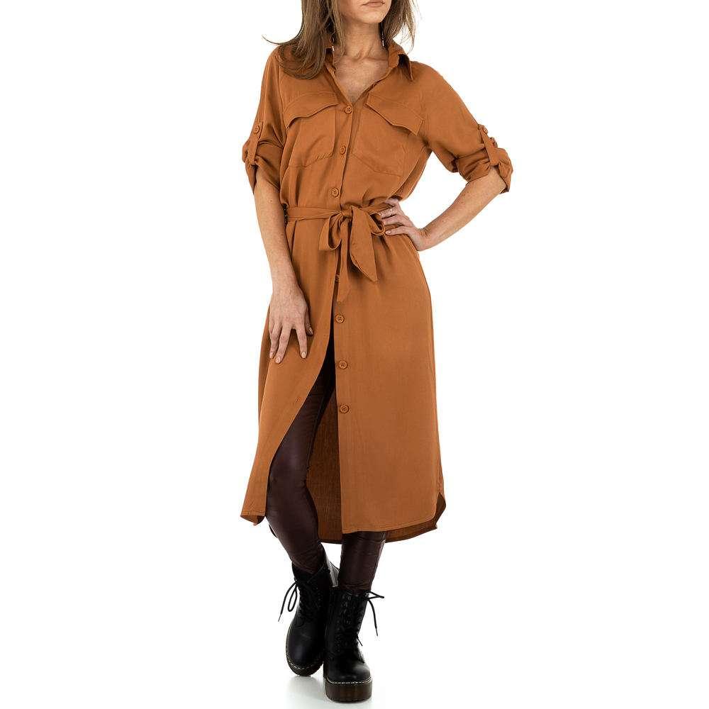 Bluză lungă pentru femei de Voyelles - cămilă