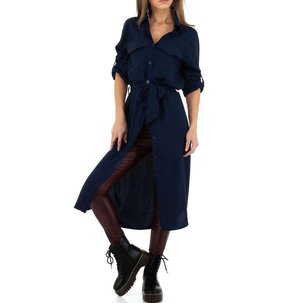 Bluză lungă de damă de Voyelles - albastru închis