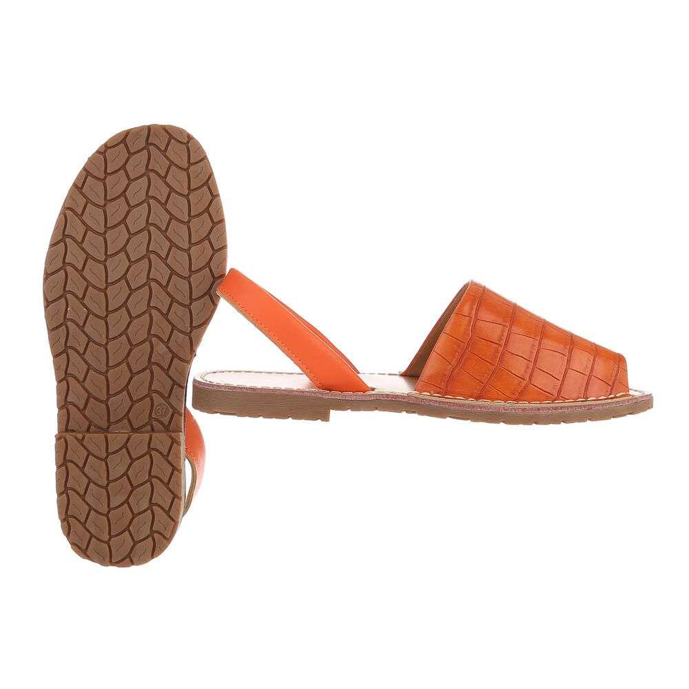 Sandale plate pentru femei - portocalii - image 2
