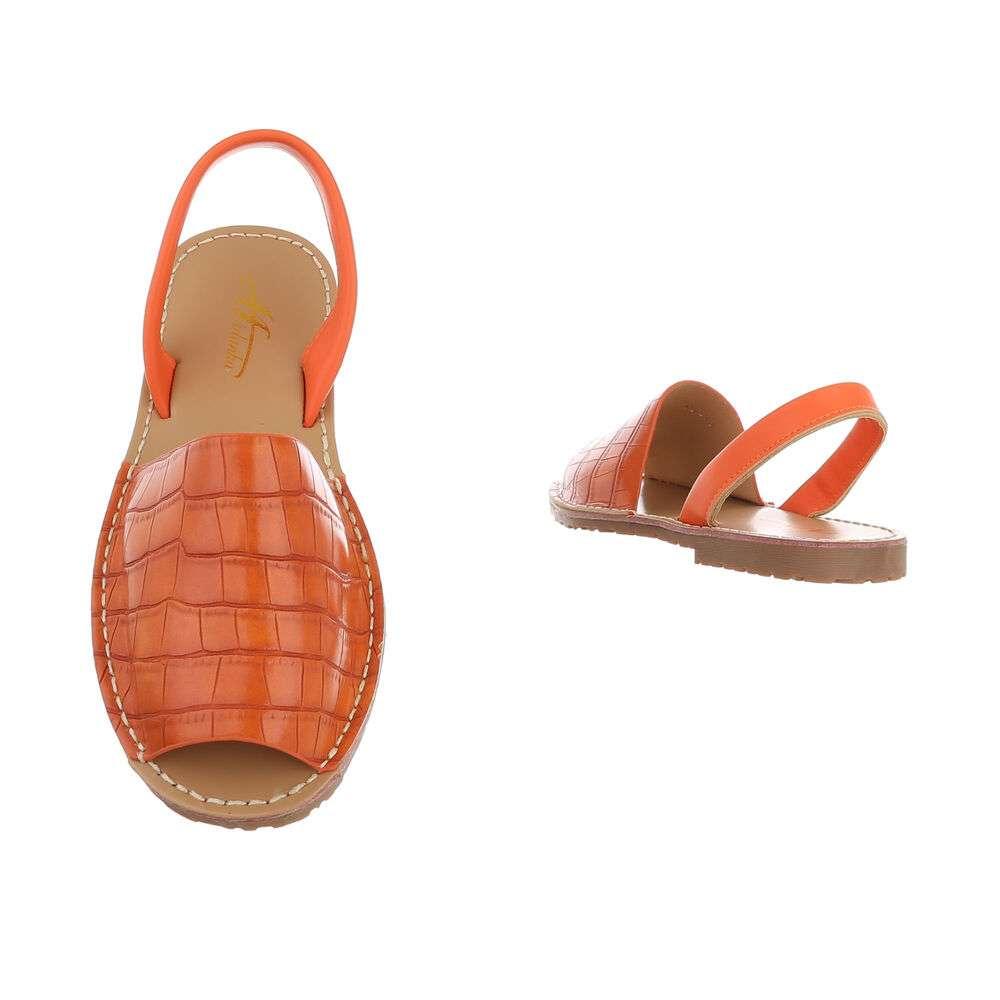 Sandale plate pentru femei - portocalii - image 3