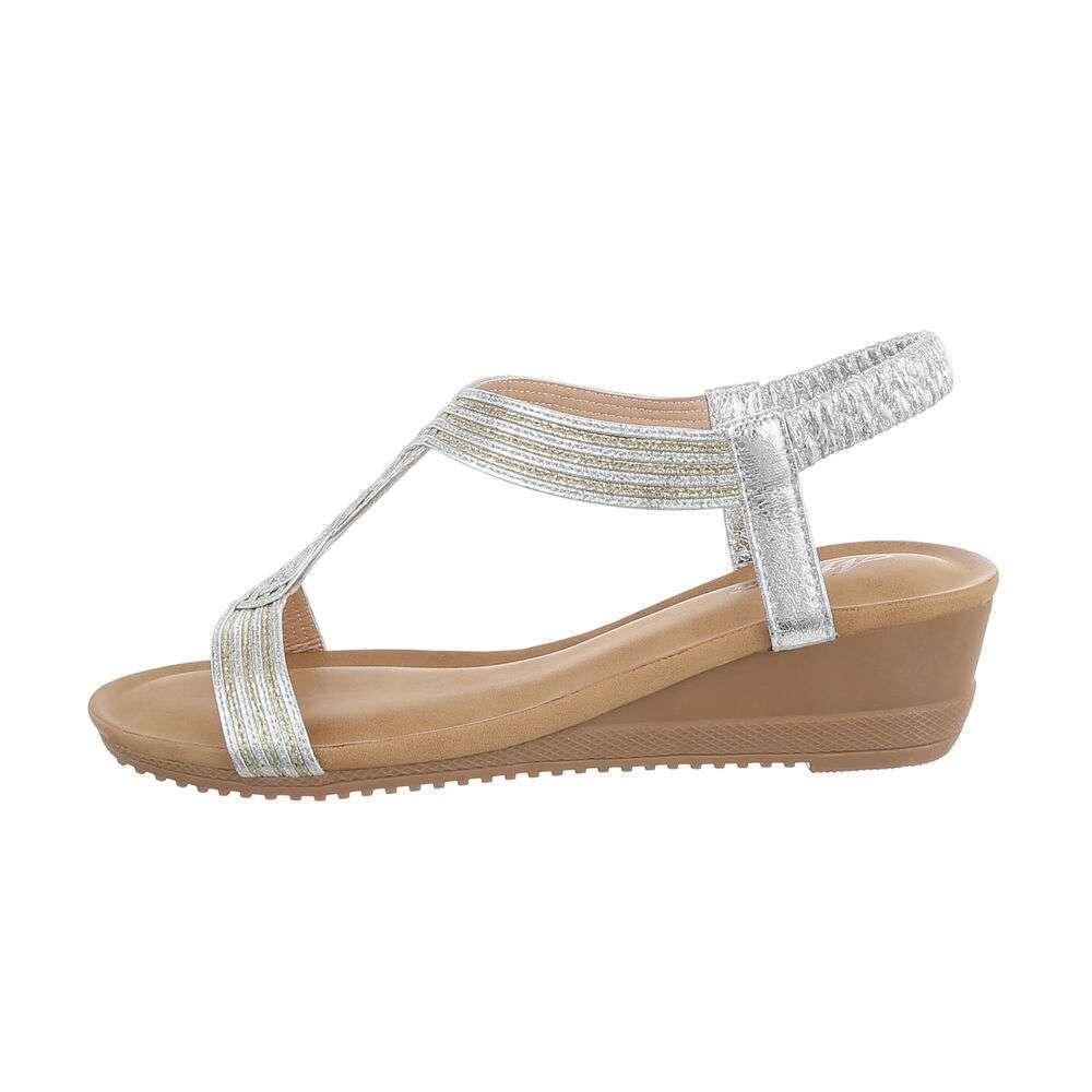 Sandale cu platformă pentru femei - argintii