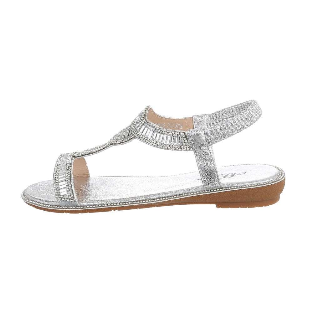 Sandale plate pentru femei - argintii - image 1