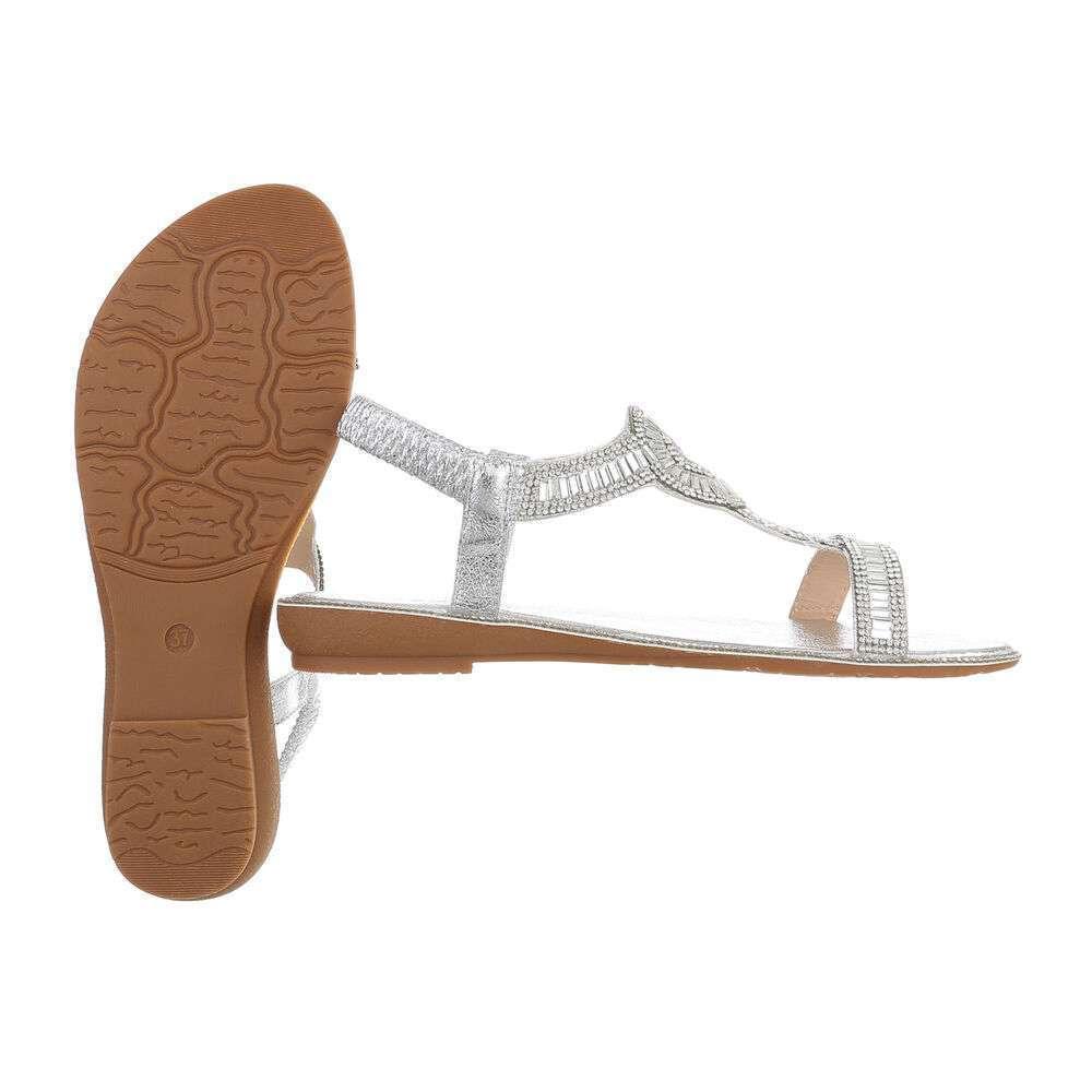 Sandale plate pentru femei - argintii - image 2