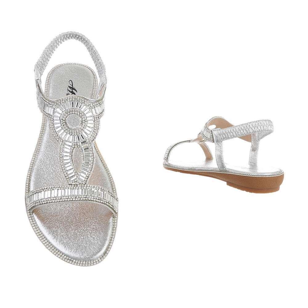 Sandale plate pentru femei - argintii - image 3