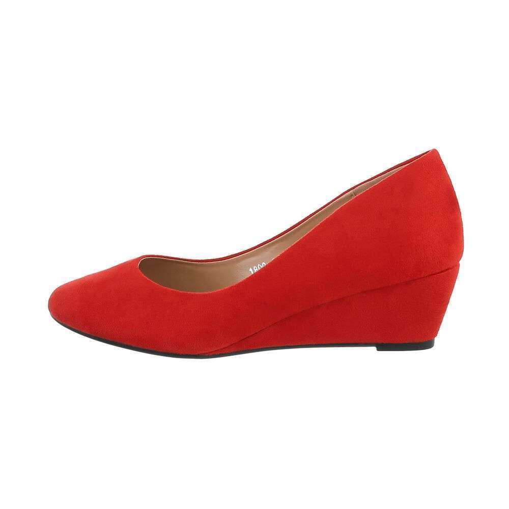 Pantofi cu platformă pentru femei - roșie