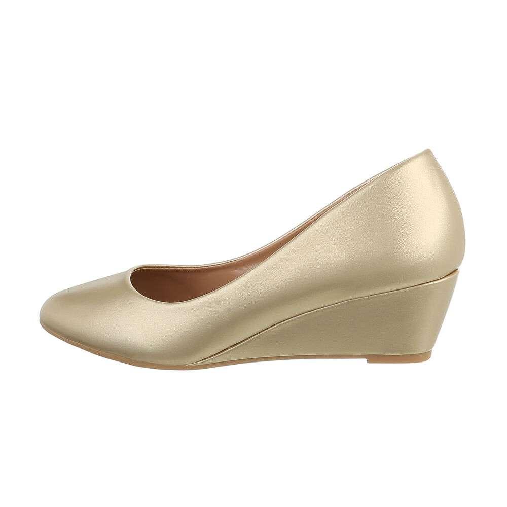 Pantofi cu platformă pentru femei - auriu